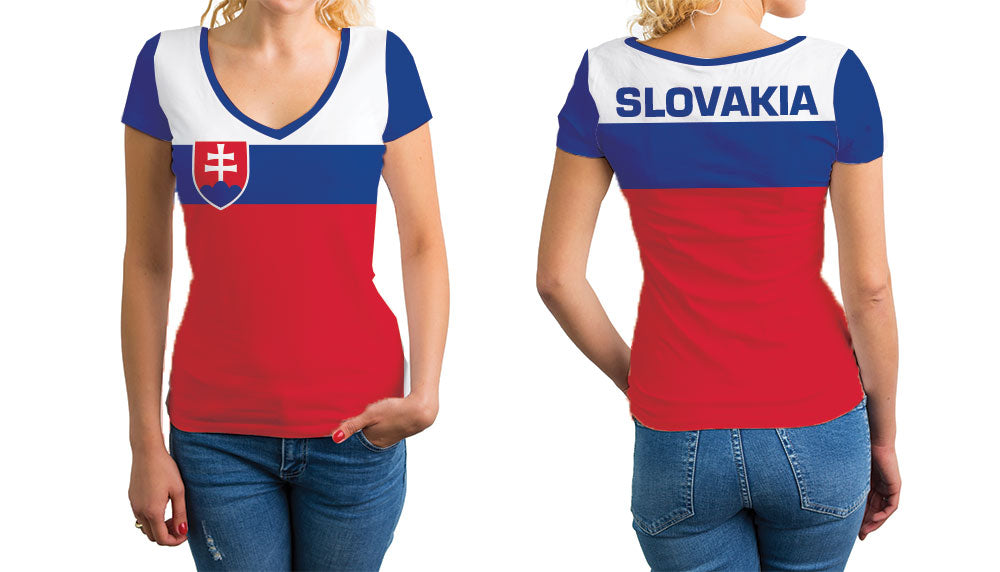 Slovakia Women's V-Neck T-Shirt. Show your Olympic Pride in the Nostalgic Prints Nations Collection.  Relaxed Fit V-Neck T-Shirt Styled to Please Supima Cotton Fabric Pre-Shrunk Fabric