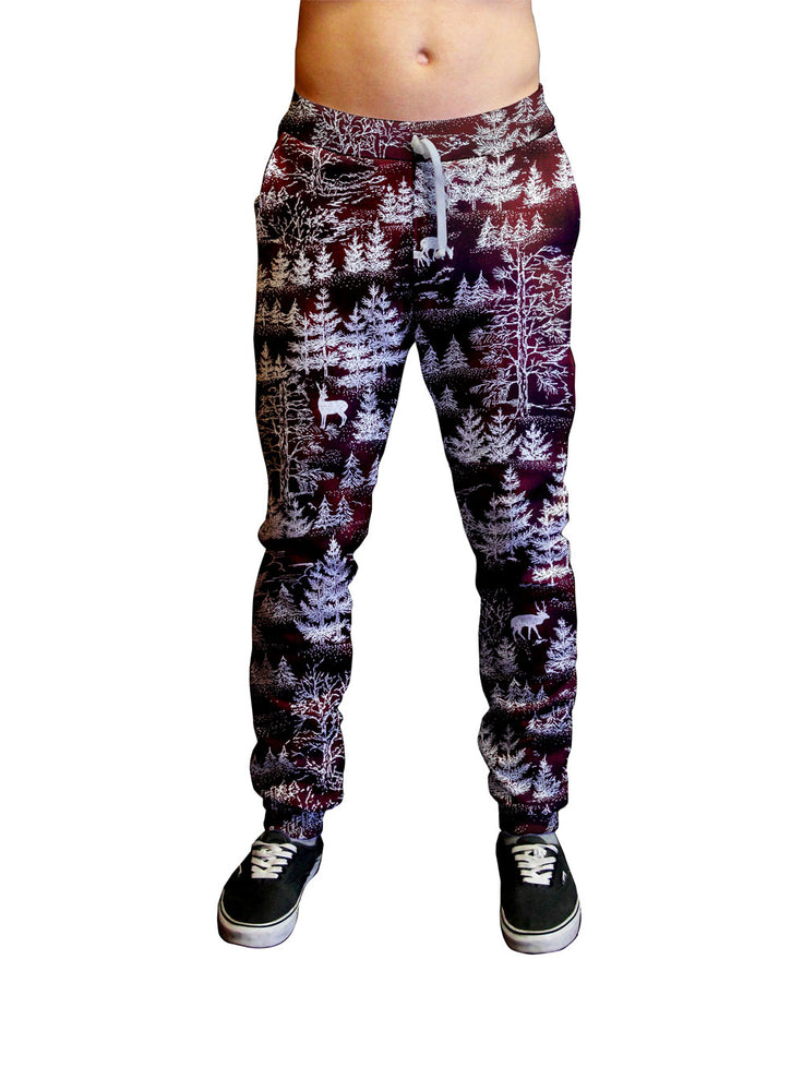 Snow Kissed Forest Print Unisex Jogger.  Moisture Wicking Tapered Leg Pockets Soft Fleece Fabric Sturdy draw cord waistband