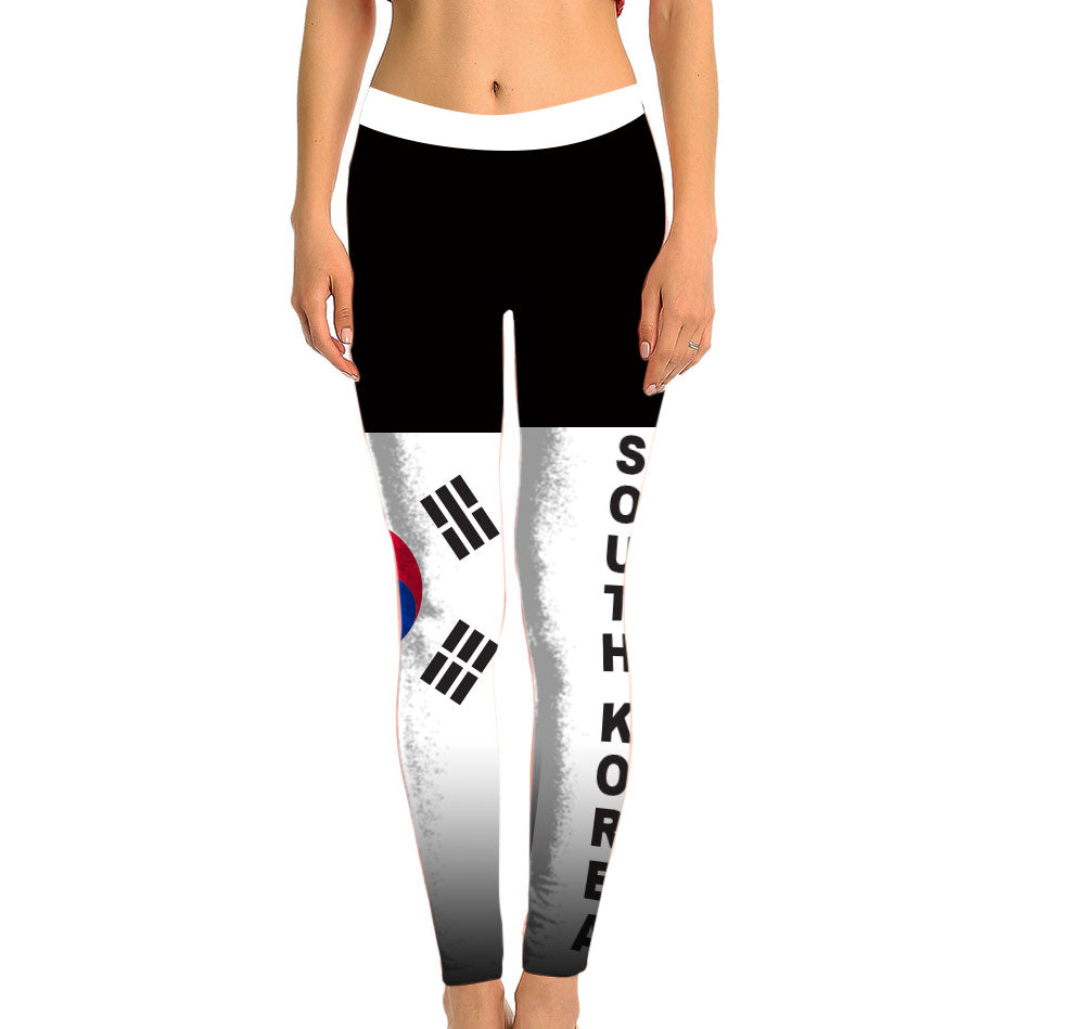 South Korea Full Length Leggings. Show your Olympic Pride in the Nostalgic Prints Nations Collection. Made with fabric milled from recycled plastic bottles.  Super Soft Ultra Light Eco-Fabric Sustainable Activewear Ultra flattering wide waistband Durable flatlock stitching