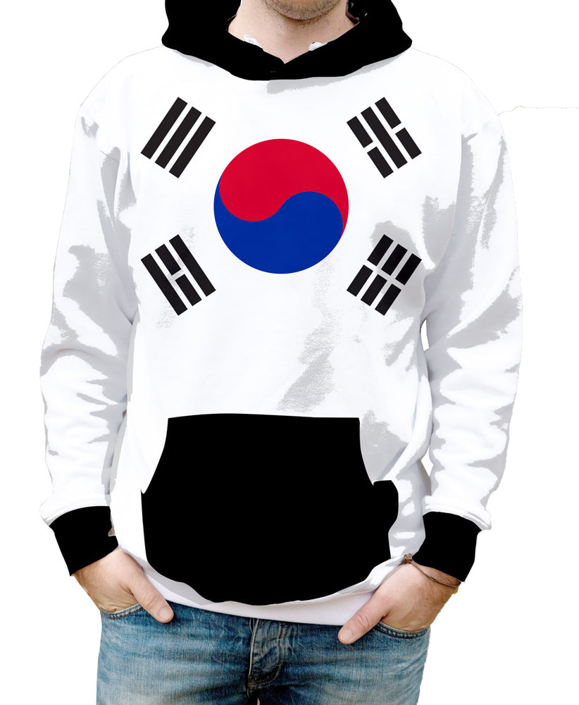 South Korea Hooded Sweatshirt. Show your Olympic Pride in the Nostalgic Prints Nations Collection.  Warm & Soft 100% Premium Microfiber Polyester HD All-Over Graphic Print Pre-Shrunk Fabric