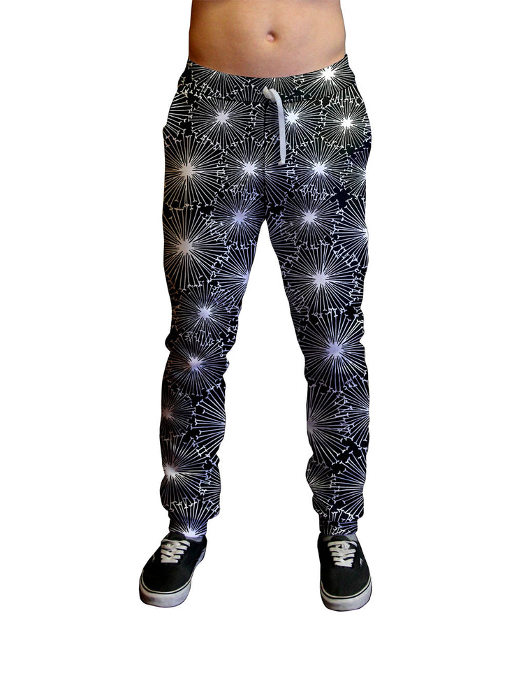 Black Starburst Print Unisex Jogger.  Moisture Wicking Tapered Leg Pockets Soft Fleece Fabric Sturdy draw cord waistband