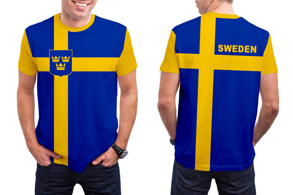 Sweden Men's T-Shirt. Show your Olympic Pride in the Nostalgic Prints Nations Collection.  Styled to Please Supima Cotton Fabric Pre-Shrunk Fabric