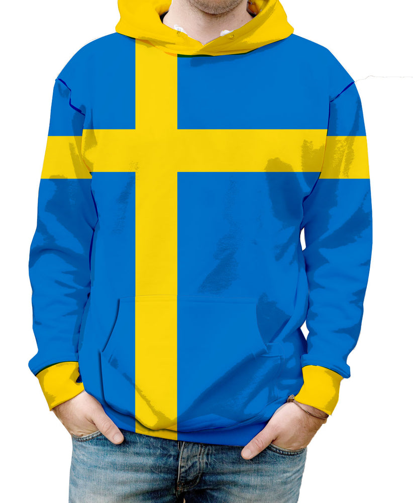 Sweden Hooded Sweatshirt. Show your Olympic Pride in the Nostalgic Prints Nations Collection.  Warm & Soft 100% Premium Microfiber Polyester HD All-Over Graphic Print Pre-Shrunk Fabric