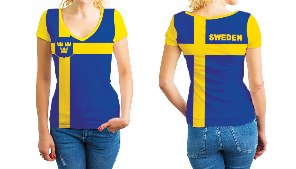 Sweden Women's V-Neck T-Shirt. Show your Olympic Pride in the Nostalgic Prints Nations Collection.  Relaxed Fit V-Neck T-Shirt Styled to Please Supima Cotton Fabric Pre-Shrunk Fabric