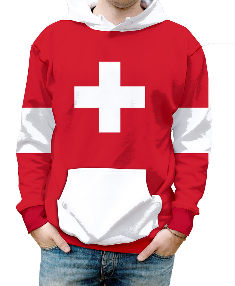 Switzerland  Hooded Sweatshirt. Show your Olympic Pride in the Nostalgic Prints Nations Collection.  Warm & Soft 100% Premium Microfiber Polyester HD All-Over Graphic Print Pre-Shrunk Fabric