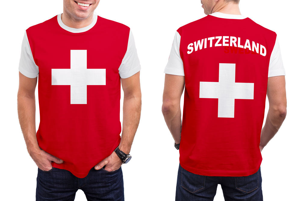Switzerland Men's T-Shirt. Show your Olympic Pride in the Nostalgic Prints Nations Collection.  Styled to Please Supima Cotton Fabric Pre-Shrunk Fabric