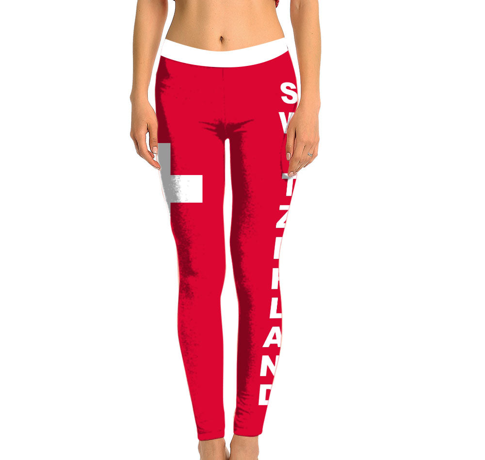 Switzerland Full Length Leggings. Show your Olympic Pride in the Nostalgic Prints Nations Collection. Made with fabric milled from recycled plastic bottles.  Super Soft Ultra Light Eco-Fabric Sustainable Activewear Ultra flattering wide waistband Durable flatlock stitching
