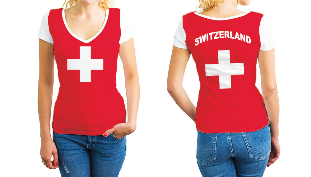 Switzerland Women's V-Neck T-Shirt. Show your Olympic Pride in the Nostalgic Prints Nations Collection.  Relaxed Fit V-Neck T-Shirt Styled to Please Supima Cotton Fabric Pre-Shrunk Fabric