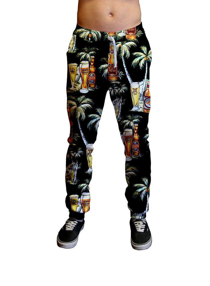 Tahitian Happy Hour Print Unisex Jogger.  Moisture Wicking Tapered Leg Pockets Soft Fleece Fabric Sturdy draw cord waistband