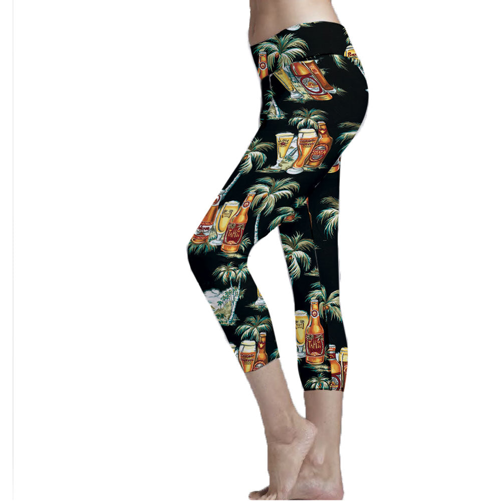 Activewear Cropped Leggings made with recycled plastic bottle fabric.