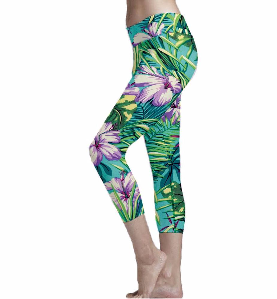 Turquoise Print Cropped Legging made with eco fabric.