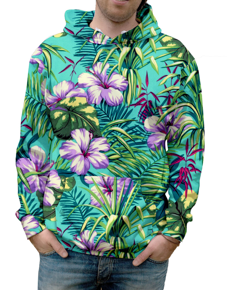 Turquoise Tropical Jungle Hooded Sweatshirt. Warm & Soft 100% Premium Microfiber Polyester. HD All-Over Graphic Print Pre-Shrunk Fabric Machine Wash and Dry Made in the USA