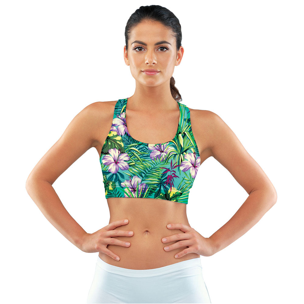 Turquoise Tropical Jungle Racerback Sports Bra made with our sustainable Ultra Soft Eco-Fabric from recycled plastic. Engineered for the active lifestyle with a smooth cool feel.