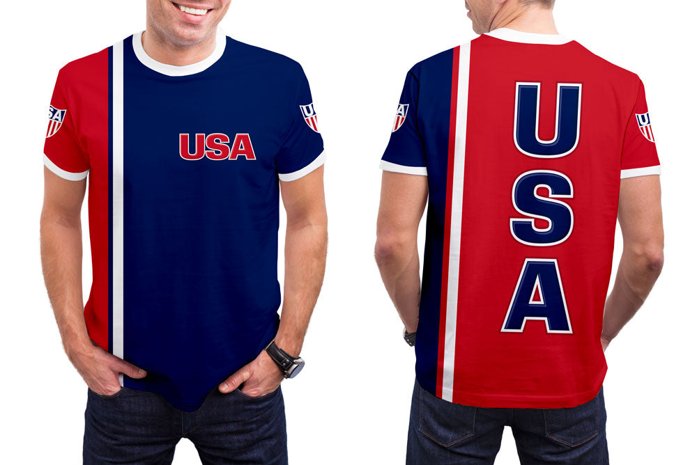USA Men's T-Shirt. Show your Olympic Pride in the Nostalgic Prints Nations Collection.  Styled to Please Supima Cotton Fabric Pre-Shrunk Fabric