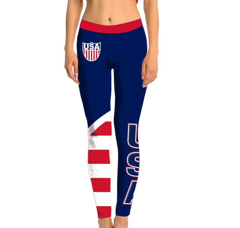 USA Full Length Leggings. Show your Olympic Pride in the Nostalgic Prints Nations Collection. Made with fabric milled from recycled plastic bottles.  Super Soft Ultra Light Eco-Fabric Sustainable Activewear Ultra flattering wide waistband Durable flatlock stitch
