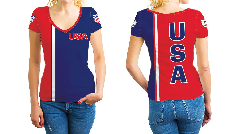 USA Women's V-Neck T-Shirt. Show your Olympic Pride in the Nostalgic Prints Nations Collection.  Relaxed Fit V-Neck T-Shirt Styled to Please Supima Cotton Fabric Pre-Shrunk Fabric