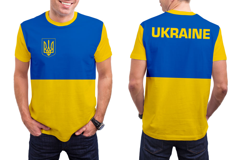 Ukraine Men's T-Shirt. Show your Olympic Pride in the Nostalgic Prints Nations Collection.  Styled to Please Supima Cotton Fabric Pre-Shrunk Fabric