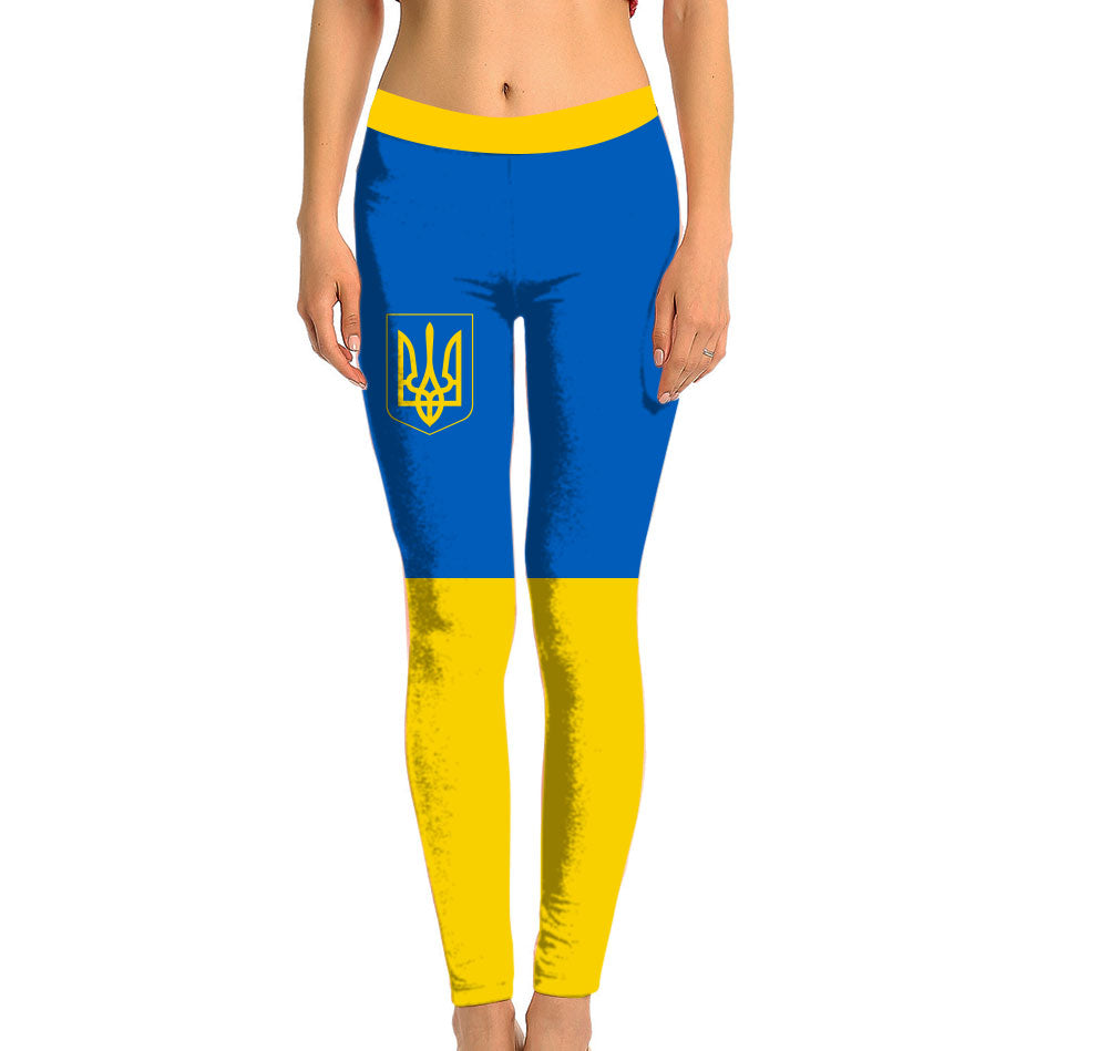 Ukraine Full Length Leggings. Show your Olympic Pride in the Nostalgic Prints Nations Collection. Made with fabric milled from recycled plastic bottles.  Super Soft Ultra Light Eco-Fabric Sustainable Activewear Ultra flattering wide waistband Durable flatlock stitching