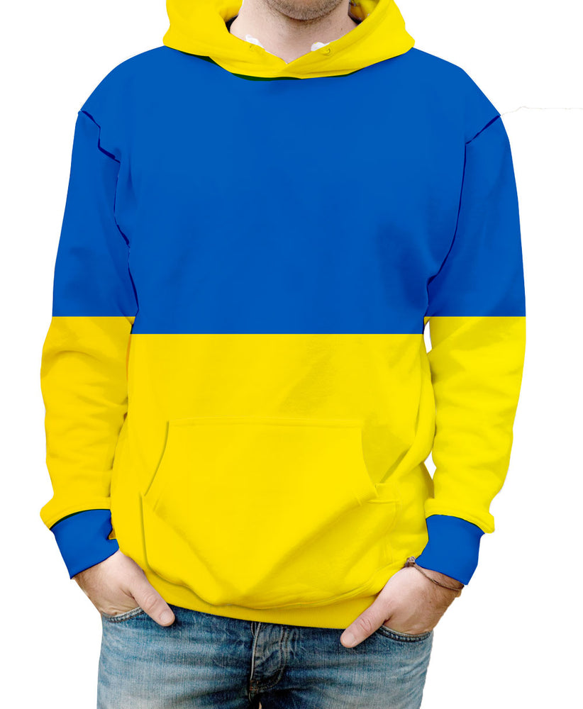 Ukraine Hooded Sweatshirt. Show your Olympic Pride in the Nostalgic Prints Nations Collection.  Warm & Soft 100% Premium Microfiber Polyester HD All-Over Graphic Print Pre-Shrunk Fabric