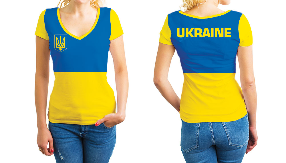 Ukraine Women's V-Neck T-Shirt. Show your Olympic Pride in the Nostalgic Prints Nations Collection.  Relaxed Fit V-Neck T-Shirt Styled to Please Supima Cotton Fabric Pre-Shrunk Fabric