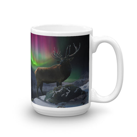 Scottish Viking's TWIN PEAKS -Wolf on peak, with Bull Elk, and Aurora Borealis 15 Oz. Mug