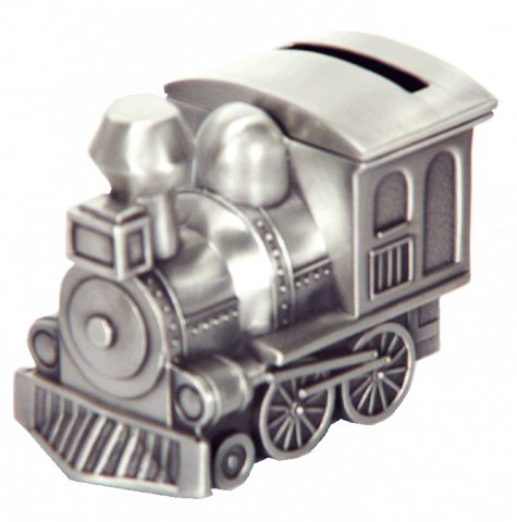 Pewter Small Train Money Bank