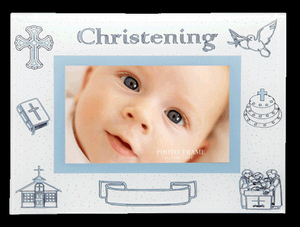 Photo Frame Glass Christening With Engravable Space