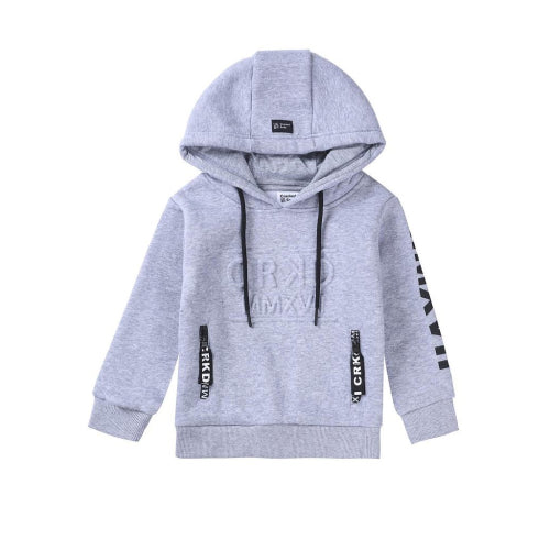 Cracked Soda : Play Hard Embossed Hoodie - Grey