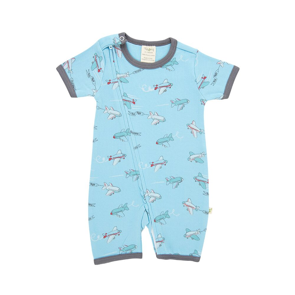 Tiny Twig Crazy Planes Short Sleeve Zip Suit