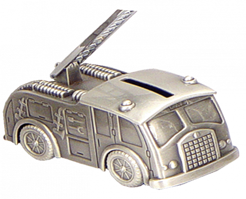 Pewter Fire Engine Money Bank