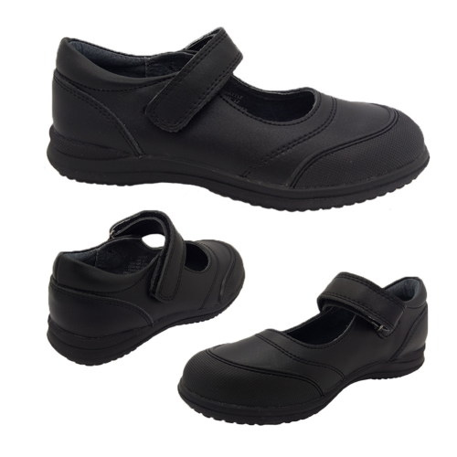 Grosby Wattle Black Leather Girls School Shoes