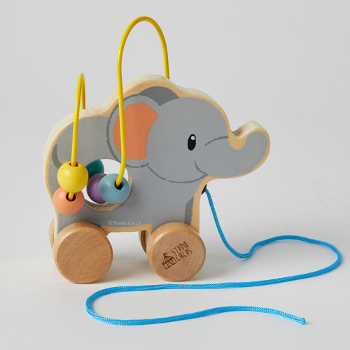 Wooden Elephant Rolling Bead Coaster