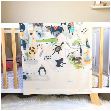 World Map Animal Kingdom Muslin Swaddle