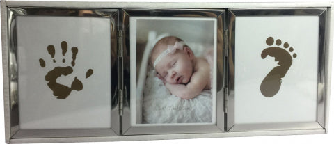 Silver Baby Photo Frame with Hand and Foot Print Facility