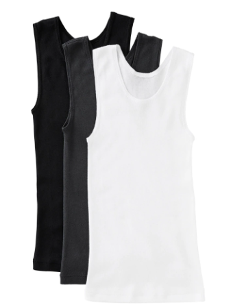 Bonds Boys Chesty Singlets 3 Pack Black/White/Grey