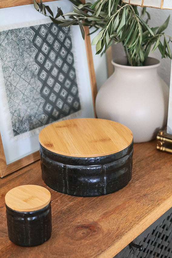 Black Ceramic Canister w/Lid (small)