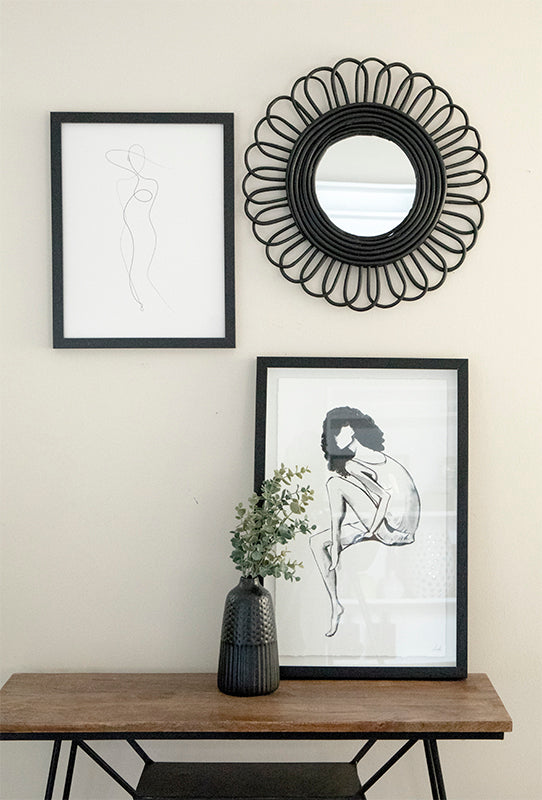 Black Bamboo Flower Mirror - Effortless Composition