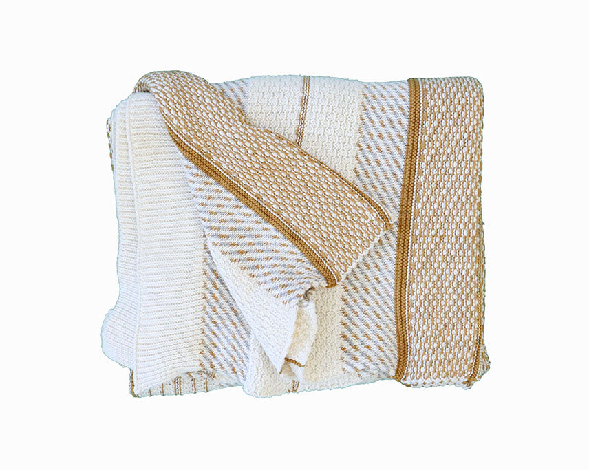 Camel and Beige Stripe Throw Blanket - Effortless Composition