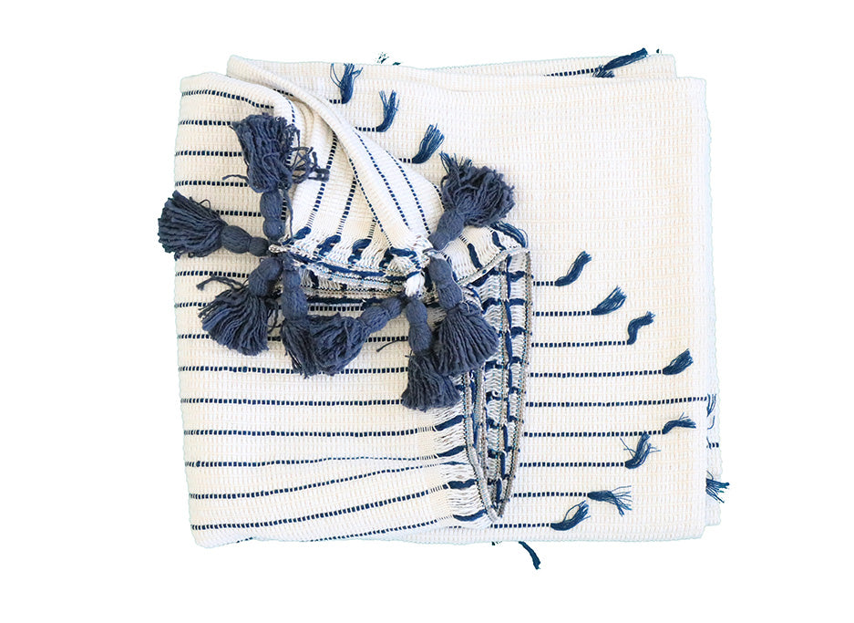 Blue and White Fringe Throw Blanket - Effortless Composition