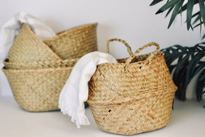 Seagrass Wickerwork Basket Rattan Foldable Hanging Flower Pot Planter Woven Dirty Laundry Hamper Storage Basket Home Decor