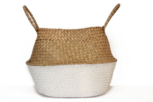 Natural and White Woven Basket - Effortless Composition