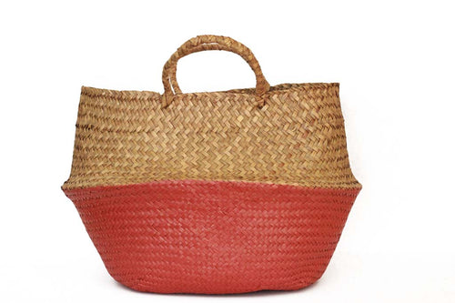 Natural and Red Woven Basket