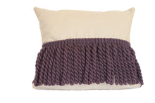Purple Rope and Tan Fringe Pillow