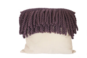 Purple Rope and Tan Fringe Pillow - Effortless Composition