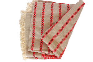 Cotton Throw Blanket- Red and Tan