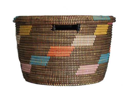 Black with Multi Color Detail Hamper Basket