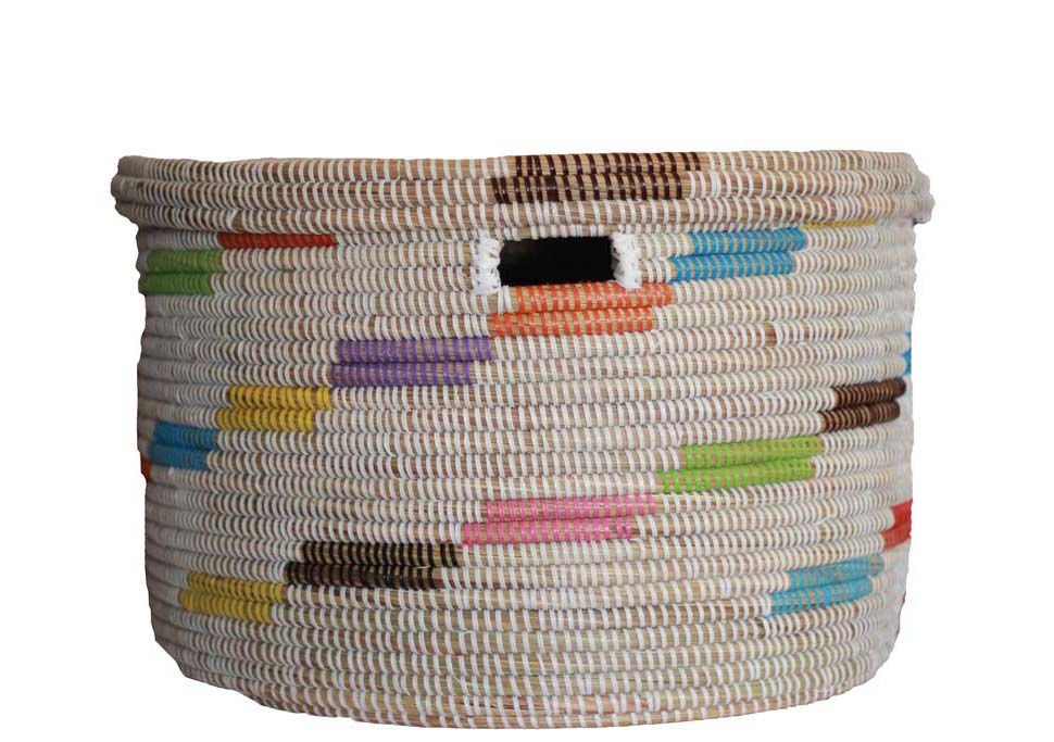 White and Multi Color Hamper Basket Set - Effortless Composition