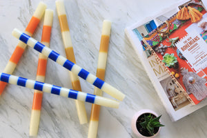 Striped Ivory & Maize Taper Candles - Effortless Composition