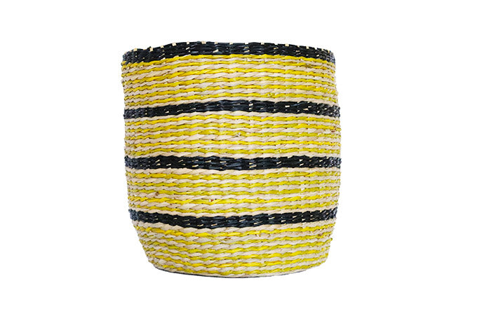 Yellow and Black Seagrass Basket - Effortless Composition