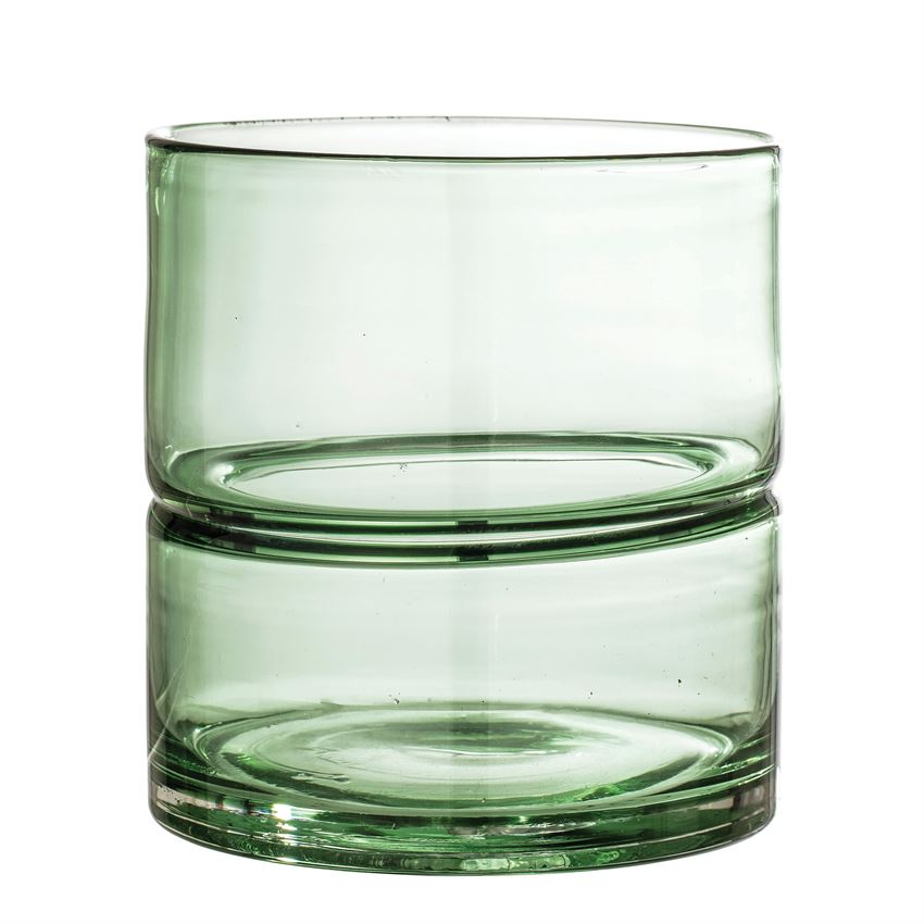 Green Glass Split Vase - Effortless Composition